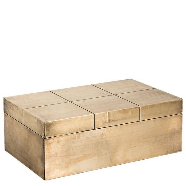 Carved 'Square' Box - Brass Antique