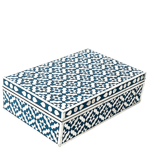 Bone Inlay Box - Wallpaper - Blue