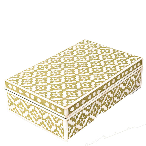 Bone Inlay Box - Wallpaper - Green