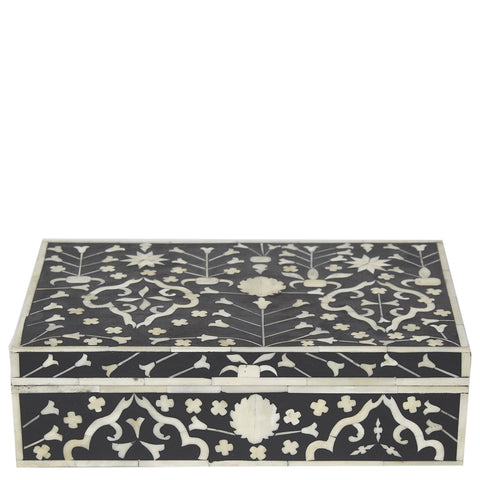 Bone Inlay Box - Moghul Flower - Black / White