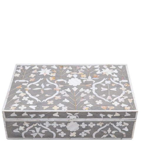 "<span style=""color: #f05574;""><b>Seconds Sale</b></span> MOP Inlay Box - Moghul Flower - Grey"