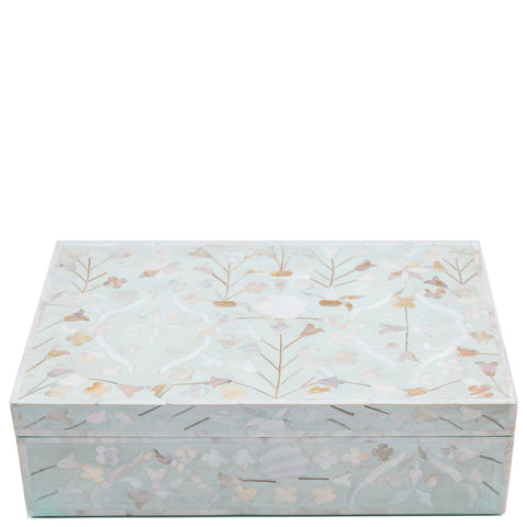 "<b>Seconds Sale</b<span style=""color: #f05574;""><b> Seconds Sale</b></span> MOP Inlay Box - Moghul Flower - Seafoam"