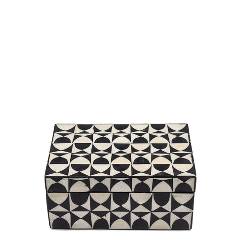 Bone Inlay Box - Wine Glass - Small - Black / White