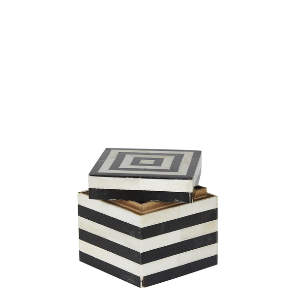 Bone / Horn Box - Small - Black / White