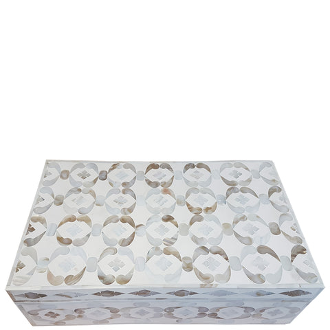 MOP Inlay Box - Geometric - White