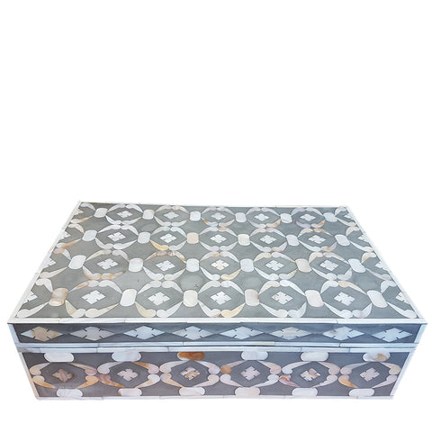 MOP Inlay Box - Geometric - Taupe