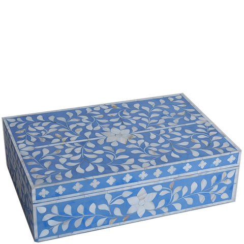 MOP Inlay Box - Floral - Cornflower