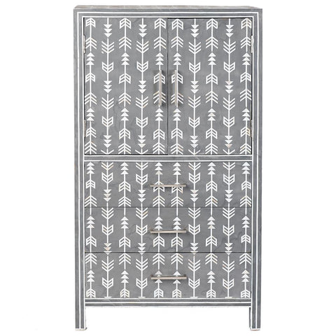 Arrow Mother of Pearl Tall Cabinet - Grey