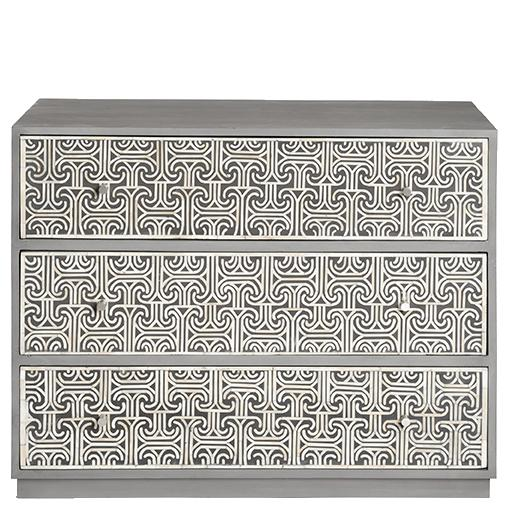 Ionic Bone Inlay Chest of Drawers - Grey
