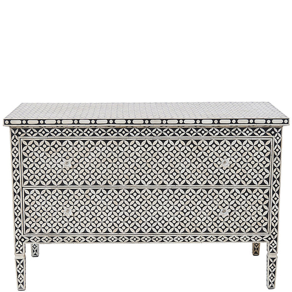 Bone Inlay 2 Drawer Chest Geometric Design Black