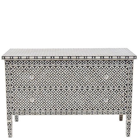 Bone Inlay 2-Drawer Chest - Geometric Design - Black