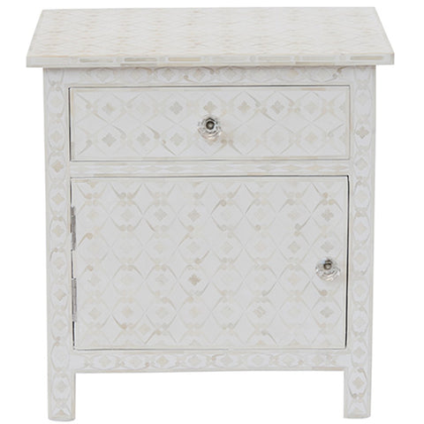 Bone Inlay 1-Drawer Side Cabinet - Geometric Design - White