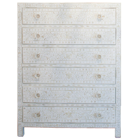 Bone Inlay 6-Drawer Tallboy - Floral Design - White