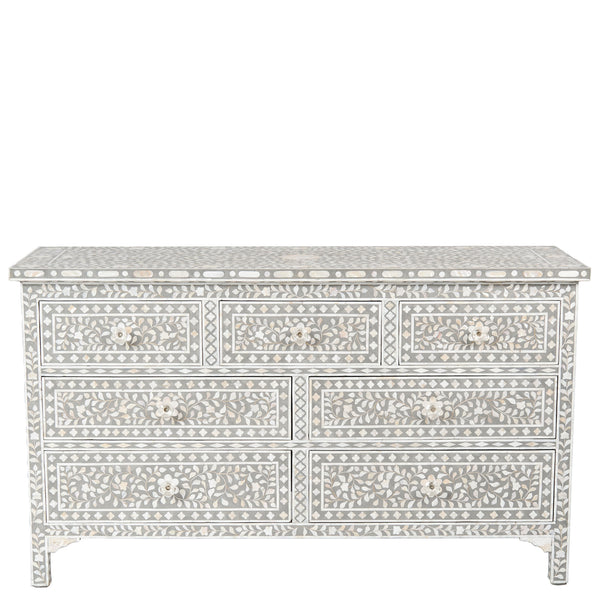 Shalimar Mother of Pearl Inlay 7-Drawer Chest - Floral - Grey