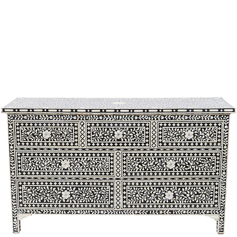 Bone Inlay 7-Drawer Chest - Floral Design - Black