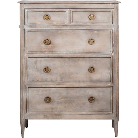 Edvard Timber 5-Drawer Chest - Grey
