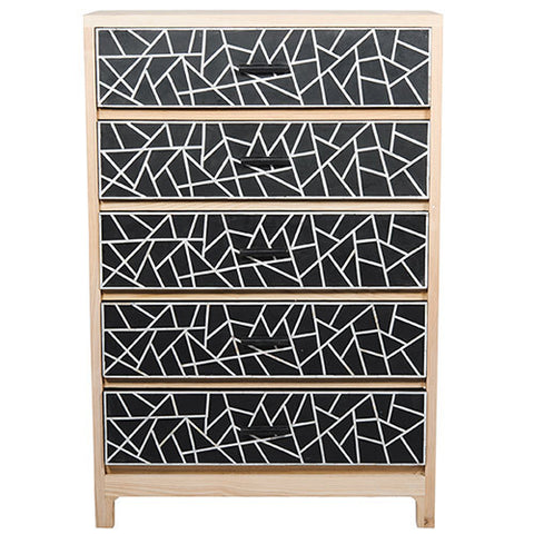 Oak Bone Inlay 5-Drawer Chest - Crossed Lines - Black / White