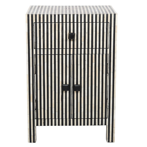 Bone Inlay 2-Door Side Cabinet - Striped - Black / White