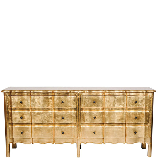 Timber 6-Drawer Scalloped Chest - Vintage - Gold