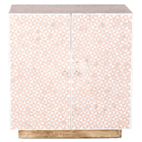 Triangle Mother of Pearl Inlay Cabinet - Nude Pink