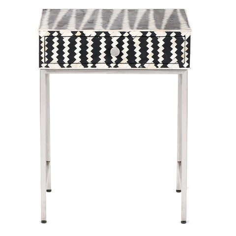 Malawi Bone Inlay Side Cabinet - Black / White