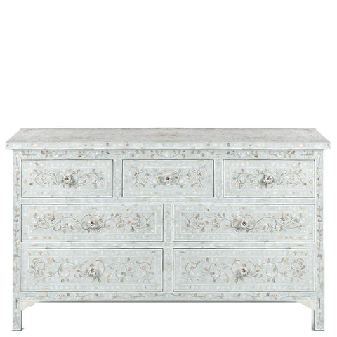 <b>SECONDS SALE</b> MOP Inlay 7-Drawer Chest - Floral - Sea Foam