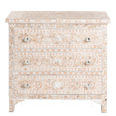 "<span style=""color: #f05574;""><b>Seconds Sale</b></span> MOP Inlay 3-Drawer Chest - Floral - Pale Pink"
