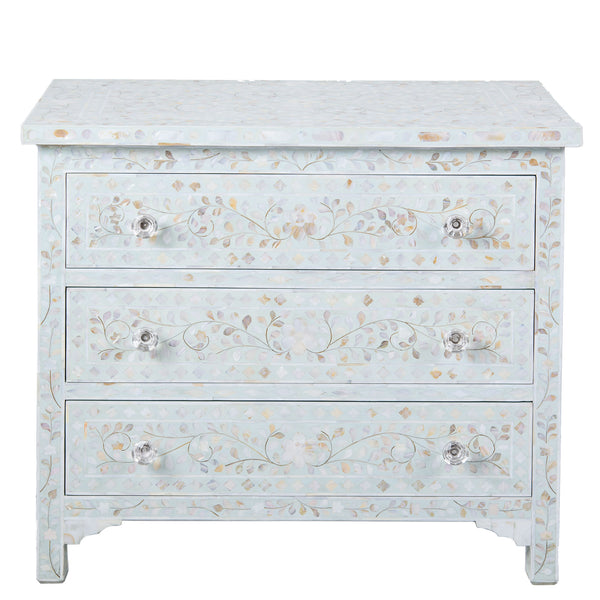 MOP Inlay 3-Drawer Chest - Floral - Sea Foam
