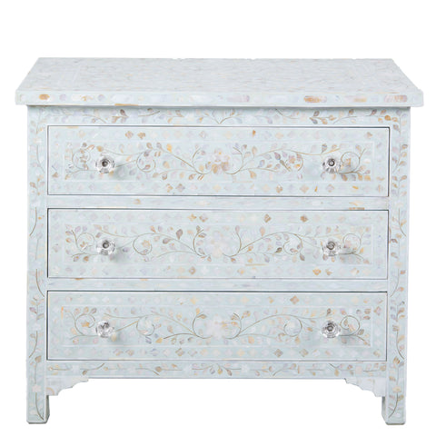 MOP Inlay 3-Drawer Chest - Floral - Pale Blue
