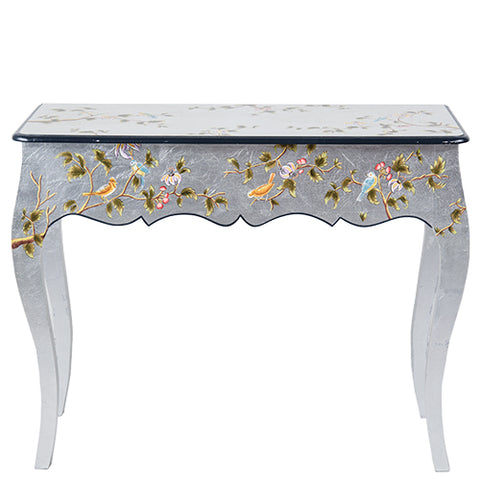 Chinoiserie Console - Bird - Silver Leaf Multi