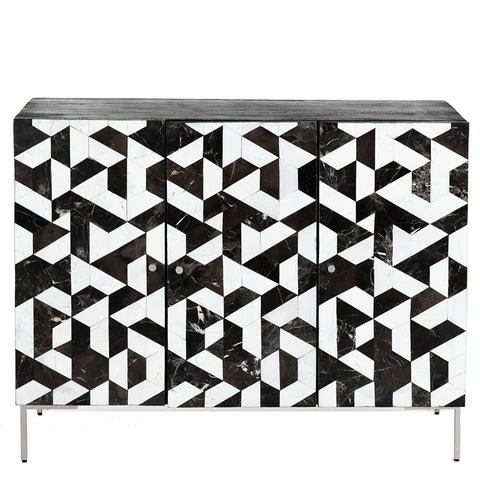"<b>Seconds Sale</b<span style=""color: #f05574;""><b> Seconds Sale</b></span> Monochrome Stone Parquet Sideboard - Black / White"