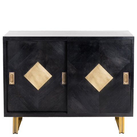 "<span style=""color: #f05574;""><b>Seconds Sale</b></span> Mondrian Timber Parquet Sideboard - Black / Grey"