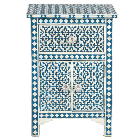 Bone Inlay Side Cabinet - Wallpaper - Indigo
