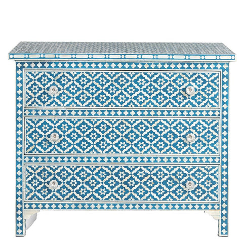 Bone Inlay 3-Drawer Chest - Wallpaper - Indigo