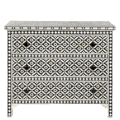 Bone Inlay 3-Drawer Chest - Wallpaper - Black