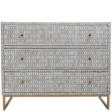 Bone Inlay 3-Drawer Chest - Lattice - Grey