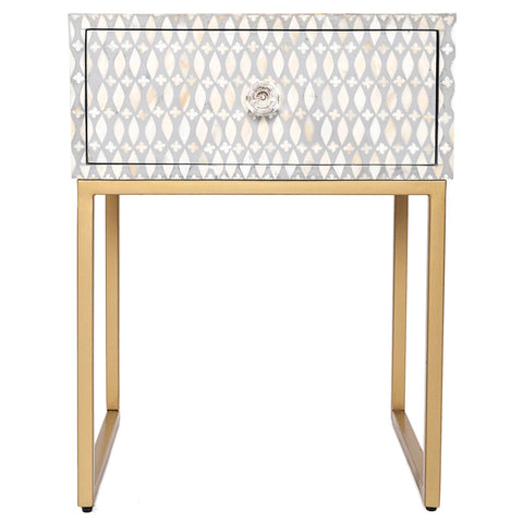 Bone Inlay Side Cabinet - Lattice - Grey