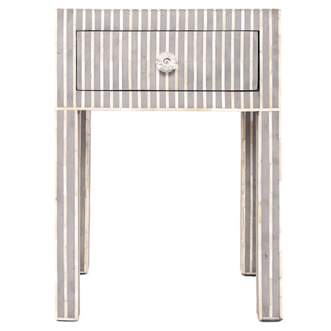 Bone Inlay Side Cabinet - Striped - Grey