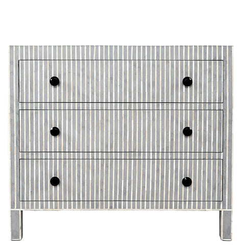 Bone Inlay 3 Drawer Chest - Striped - Grey
