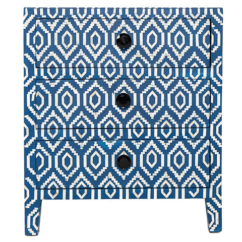 Bone Inlay 3-Drawer Side Cabinet - Ikat - Blue
