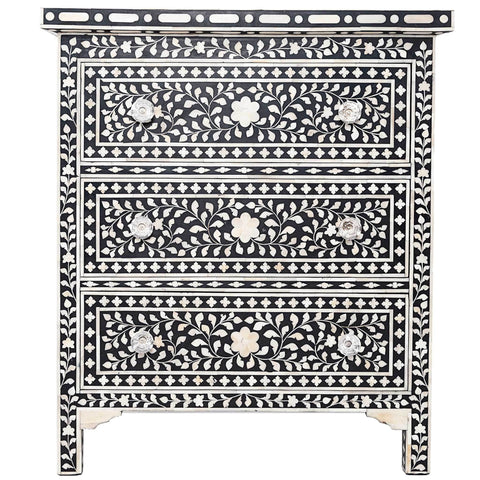 Bone Inlay 3-Drawer Side Cabinet - Floral - Black