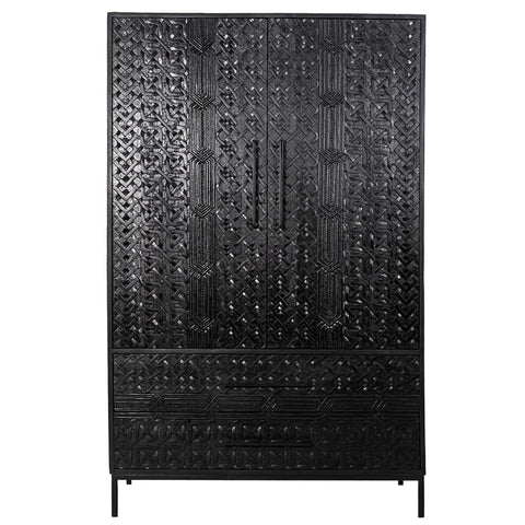 Tribal Carved Cupboard - Black