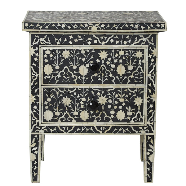 Bone Inlay 2-Drawer Bedside - Moghul Flower - Black / White
