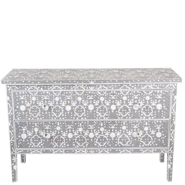 MOP Inlay 2-Drawer Chest - Moghul Flower - Taupe - Grey