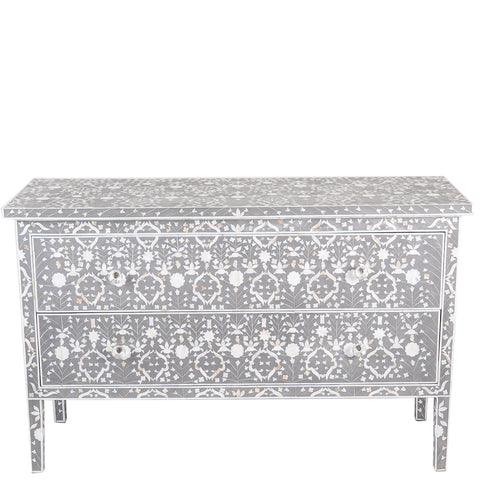 "<span style=""color: #f05574;""><b>Seconds Sale</b></span> MOP Inlay 2-Drawer Chest - Moghul Flower - Taupe - Grey"