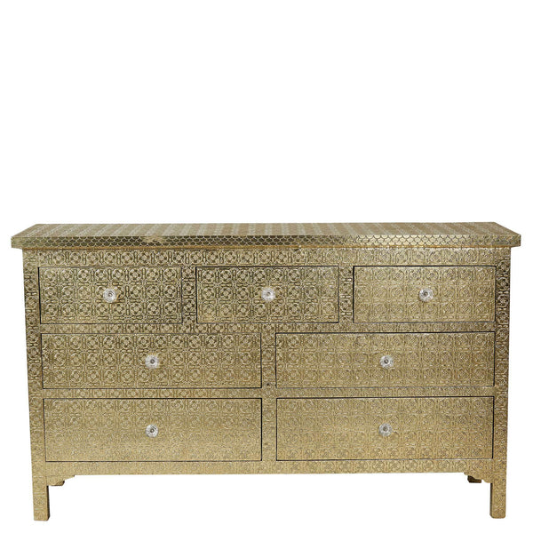 Embossed 7-Drawer Chest - Brass Finish - Brass