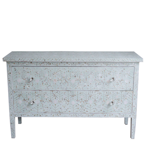 MOP Inlay 2-Drawer Chest - New Floral - Seafoam