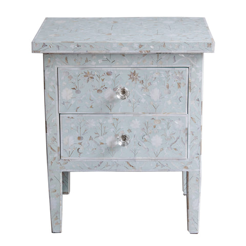 MOP Inlay 2-Drawer Bedside - New Floral - Seafoam