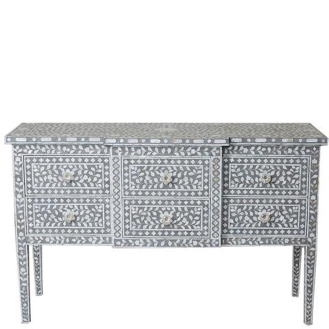 MOP 6-Drawer Console - Floral - Taupe - Grey