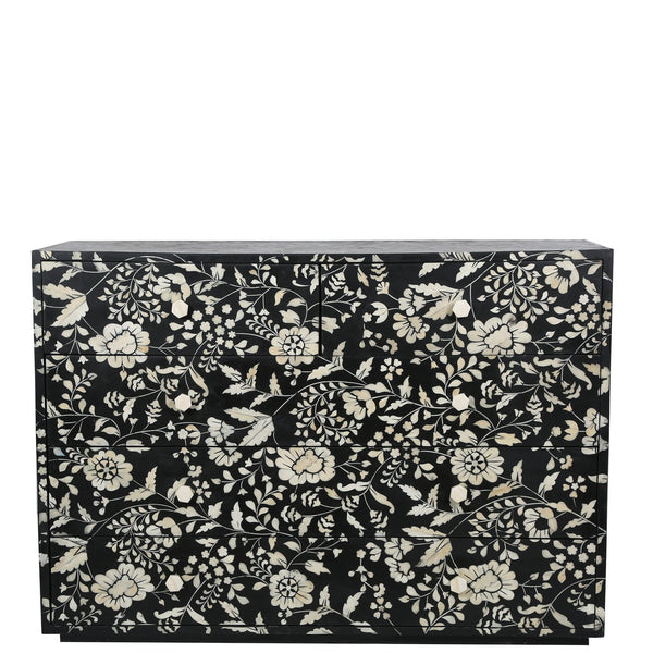 Bone Inlay 5-Drawer Chest - Chintz - Black